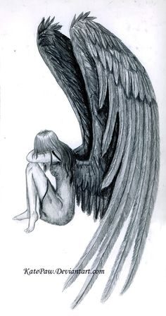 Fallen_Angel_by_KatePaw.jpg - Fallen_Angel_by_KatePaw.jpg Informations About Fallen_Angel_by_KatePaw. Fallen Angel Wings, Fallen Angel Tattoo, Angels Tattoo, Fallen Angels, Angel Sketch, Wings Sketch, Demon Drawings, Pencil Drawings, Drawings Of Angels