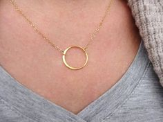 Gold Circle Necklace, Open Circle Eternity Necklace, Mom Jewelry Gift, Sister Necklace