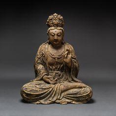 Ming Wooden Seated Bodhisattva - Barakat Gallery Store