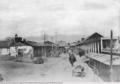 """View of Calle de Los Negros, looking north, Los Angeles, C.C. Pierce, ca.1882 