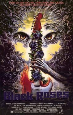 """FILME: A BANDA MALDITA (Black Roses, 1988)  SINOPSE: Black Roses é o nome de um conjunto de rock pesado que tem show marcado na pequena cidade de Mill Basin. Os pais se preocupam com a """"música satânica"""", mas os músicos parecem mais amáveis pessoalmente. No entanto, a cidade logo se transforma num inferno sobre a Terra quando a banda mostra-se formada por demônios."""