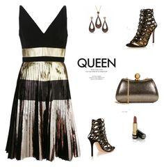 """""""Queen of the Night"""" by rasa-j ❤ liked on Polyvore featuring Proenza Schouler, Halston Heritage, Gianvito Rossi, Gucci, womensFashion and metallicdress"""