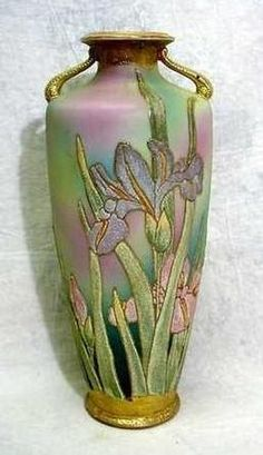 Nippon Porcelain; Coralene, Vase, Cylindrical, Iris, Kinran Mark, 14 inch.