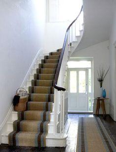 Sisal Stair Runner - love the stair basket Floor Runners, Hallway Carpet Runners, Carpet Stairs, Hallway Runner, Sisal Stair Runner, Staircase Runner, Stair Runners, Staircase Ideas, Staircase Makeover