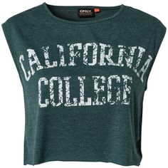 Only Cali Collage Ss Cropped T-Shirt ($17) ❤ liked on Polyvore featuring tops, t-shirts, shirts, crop tops, ponderosa pine, womens-fashion, t shirts, round neck t shirt, tall shirts and crop t shirt
