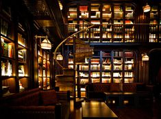 Back lit shelving, great effect. The NoMad Hotel, NYC (The Archtivist)