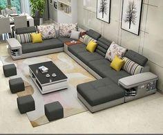 Simple Modern Living Room - Modern Luxury U Type Fabric Sofa Simple Living Room Decor, Living Room Sofa Design, Living Room Designs, Furniture Styles, Sofa Furniture, Furniture Design, Modern Furniture, Cheap Furniture, Furniture Buyers