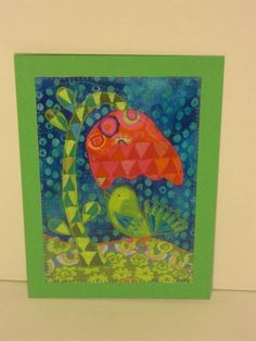 This is a 5x7 greeting card. Bright and colorful, it could be used for any occasion! This listing is for the card in the first picture.  The design is a copy of the fabric postcards that I make in my other shop : postquilts.etsy.com The cards are all made of cardstock paper---the copied design comes out incredibly cool! You can see every stitch and fabric weave! (My photography does not do them justice!)  A white envelope is include with each card and will be packaged in a clear bag.  My…