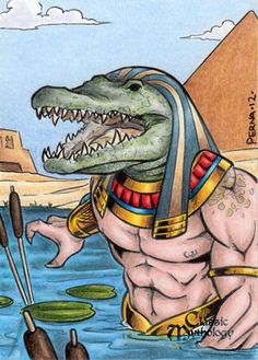 Sobek- Egyptian myth: the god of water and the Nile river. He was depicted with the head of a crocodile. He protected the people from the dangers presented by the Nile river.