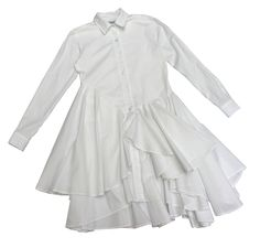 Draped dress / White / Popelin