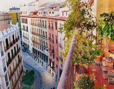 Looking down to Calle San Miguel, just round the corner with Plaza Mayor. Madrid.