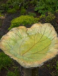 Create a simple, sand-cast birdbath from big leaves found in your own garden.