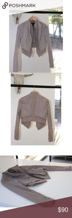 BCBG nude crop jacket BCBG cropped jacket. Like new. This has the look of layered jackets without the bulk. Pairs perfectly over dresses or any high waisted outfit. BCBG Jackets & Coats