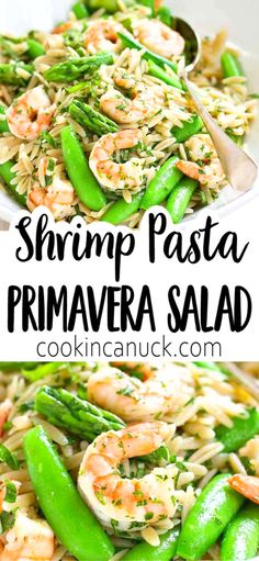 Welcome spring with this Shrimp Pasta Primavera Salad! Packed with asparagus and snap peas its perfect for a light dinner or picnic lunch. 219 calories and 4 Weight Watchers SP Healthy Summer Recipes, Potluck Recipes, Healthy Dishes, Healthy Salad Recipes, Seafood Recipes, Pasta Recipes, Top Recipes, Spinach Salad Recipes, Asparagus Recipe