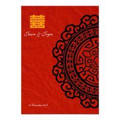 Oriental double  happiness wedding invitation RSVP