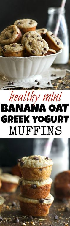 Mini Banana Oat Greek Yogurt Muffins - a healthy bite-sized snack that's PERFECT for kids (or anyone)! Made with NO flour, oil, or refined sugar, these fluffy little muffins are a delicious and easy breakfast or snack {gluten free, flourless, kid friendly, recipe} | http://runningwithspoons.com