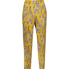 Oscar de la Renta - Floral-print Silk Tapered Pants (29.365 RUB) ❤ liked on Polyvore featuring pants, bottoms, trousers, marigold, pantalones, loose pants, floral pants, silk pants, white pants and loose fitting pants