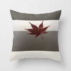 Last Leaf of Autumn Throw Pillow #autumn #leaf #minimalart