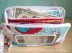 Super Mega Touch Screen Wallet, iphone wallet wristlet, fabric case, bifold wallet, wrist strap, cell phone wallet, aqua, red on Etsy, $58.00