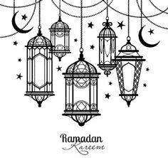 Ramadan vintage lantern linear icons. Vector muslim
