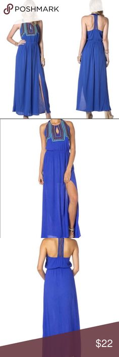 Miss Me Blue Tribal Embroidered Maxi Dress Add this vibrant blue maxi dress to your spring and summer wardrobe. With tribal embroidery on the front, side slits, and a halter style top this dress is perfect for day or night.  Very good condition - only worn a couple of times. Miss Me Dresses Maxi
