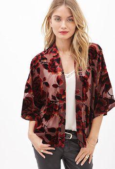 FOREVER 21 Floral Velvet Kimono