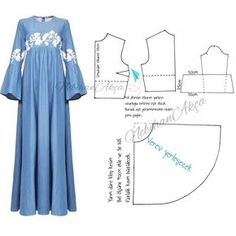 Discover thousands of images about Long dress pattern in lace. Dress Sewing Patterns, Blouse Patterns, Clothing Patterns, Abaya Fashion, Muslim Fashion, Diy Clothing, Sewing Clothes, Abaya Pattern, Blog Couture