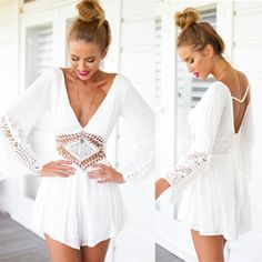 Sexy Deep V-Neck Long Sleeve Backless Jumpsuit Lace Splice Hollow Out Short Mini Jumpsuit
