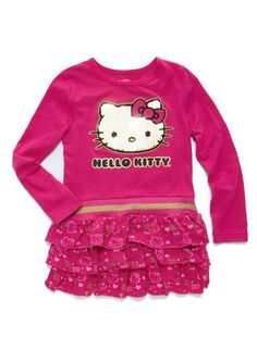 HELLO KITTY Girls' Long Sleeve Sequin Face Dress (12M-6X)
