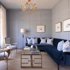 Navy Velvet Sectional, Transitional, Living Room, Munger Interiors