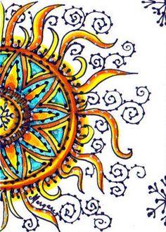 "Water Blossoms: ""More Blossoming Winter Suns. Sun Drawing, Sun Painting, Good Day Sunshine, Doodles Zentangles, Zentangle Patterns, Sun Moon Stars, Sun Designs, Look Boho, Sun Art"