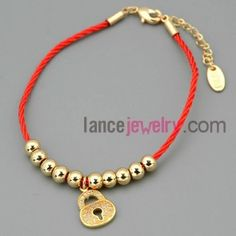 Shiny beads and lock decoration chain link bracelet