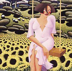 Jonathan Knuttel - Meet Me by the Flowers under the Tree Pansies, Daffodils, Happy Fun, Good Times, Art Pieces, Art Gallery, Illustration Art, Meet, Mood Swings