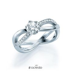 ffc91d01048e Original anillo de compromiso de oro blanco o platino con diamantes en  forma de infinito