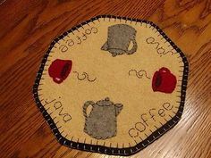 """Primitive Candle Mat -Woolfelt Penny Rug-Coffee time 9"""""""