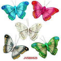The Iridescent Glitter Artificial Sheer Butterflies in assorted colors and sizes! Artifical Butterflies-Decorative Butterflies-Fake-Butterflies-Floral Crafts.