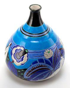 Art Glass:Other , A LONGWY FIGURAL CERAMIC VASE: BAIGNEUSES. Longwy Pottery,Longwy, France, circa 1930 . Marks: Atelier Primavera L...