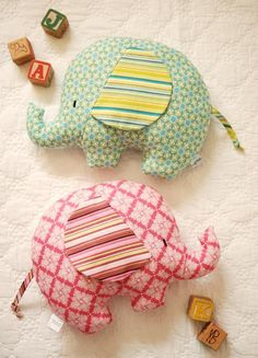 Elephant Softies: Tilly & Tommy by retro_mama