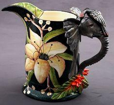 Ardmore Ceramics | Elephant Jug – Sculptor  Sabelo / Sondy Ntshalintshali, Painter Senzo Duma