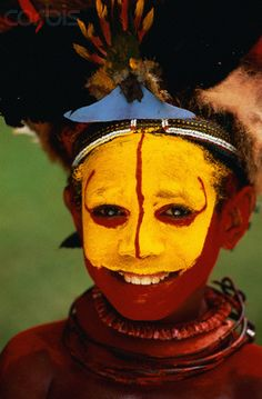 Papua New Guinea | A Huli boy in traditional costume for the Mount Hagen Show. | © Bob Krist/Corbis