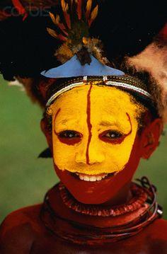 Papua New Guinea   A Huli boy in traditional costume for the Mount Hagen Show.   © Bob Krist/Corbis