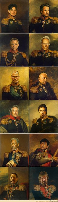 Actors painted in the traditional style. Chuck Norris kills it.  Steve Jobs is an actor?