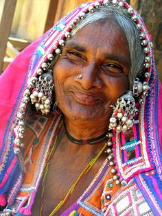 Lambada tribe woman- Srisailam, Andhra Pradesh.  The lambadas used to be a nomadic tribe....the women adorn themselves with colorful clothes and jewelry.