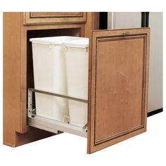 """Soft-Close, Bottom Mount Pull-Out. Fits minimum cabinet width 15"""". Dimensions: 14-13/16"""" W x 22-1/8"""" D x 22-15/16"""" H. 2 White bins, 50 quarts per bin. Rev-A-Shelf, Inc. Soft-Close, White Bins"""