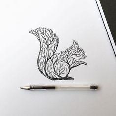Nella sua ultima serie di illustrazioni, l'artista Alfred Basha raffigura una serie di immagini in cui gli animali si fondono con il mondo naturale: alberi