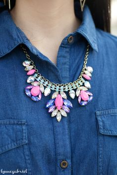 Deb Shops Pink and Purple Statement Necklace