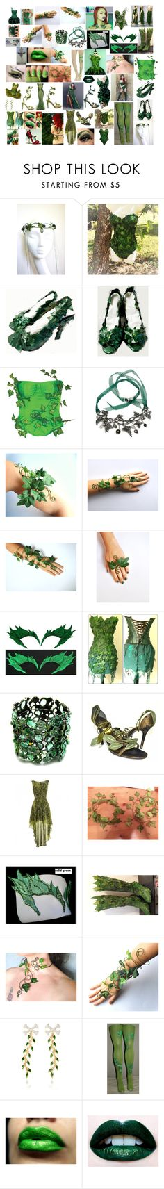 """""""Halloween Costumes - Poison Ivy"""" by wastedstalker ❤ liked on Polyvore featuring Victoria's Secret, Behance, Yanina, Fantasy Jewelry Box, Valentino, Alison Lou, Wet n Wild, Lime Crime and halloweencostumes"""