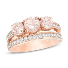 Precious Bride™ Morganite and CT. Diamond Three Stone Bridal Set in Rose Gold - Peoples Jewellers Three Stone Engagement Rings, Engagement Wedding Ring Sets, Wedding Rings, Bridal Rings, Wedding Shoes, Wedding Jewelry, Dream Wedding, Peoples Jewellers, The Bling Ring