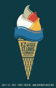 (designer unknown) This design has a good balance of simplicity and detail. Its clever with the use of film for the ice cream. The font design is also nice because of the different variations of size.  There is a great color scheme going, especially with the film strips being the brightest colors against a more subdued background.