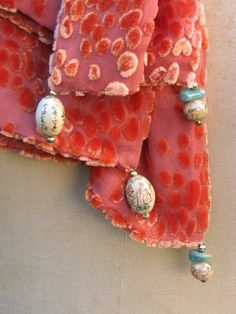 PUMPKIN VELVET Scatter Dot TEXTURE Scarf with Chinese enamel beads by fashgal, $79.00